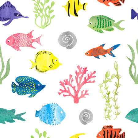 Watercolor colorful fish seamless pattern. Underwater background. Hand drawn corals, seaweeds and fish isolated on white.