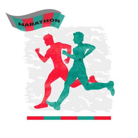 Running people. Watercolor vector illustration of running silhouettes. Marathon.