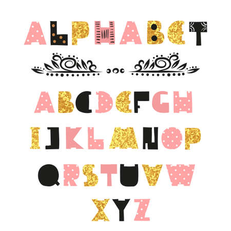 pink and black: Cute Alphabet design. Hand drawn font in pink, black and sparkling gold colors. Illustration