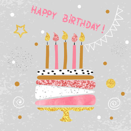 Happy Birthday card design. Birthday cake with candles. Vector illustration. 免版税图像 - 59858056
