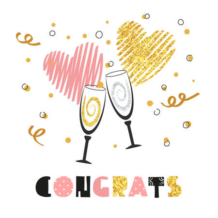 champagne glasses: Celebration background with two champagne glasses. Glittering card design for birthday, party invitation, anniversary. Congrats lettering. Vector celebration background. Illustration