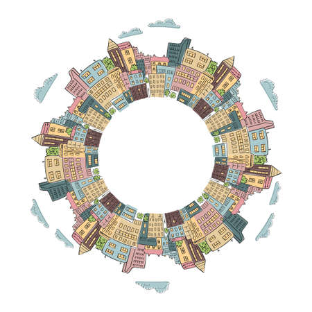 clouds scape: Round frame with colorful doodle city buildings. Vector illustration of abstract city with place for text. Decorative element for infographics, brochures.