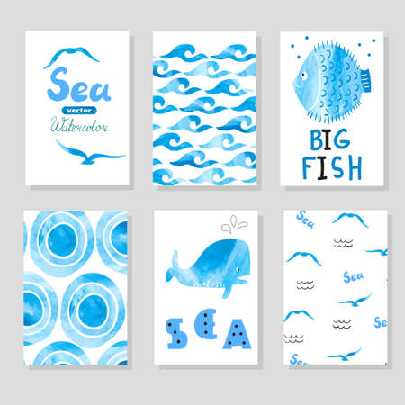 blue party: Watercolor sea set in blue and white colors. Collection of cards template, marine theme. Vector sea illustrations. Hand drawn card for your design, birthday, party invitations.