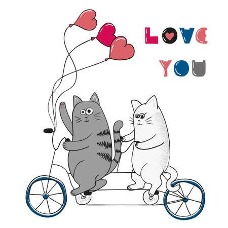 Gatti svegli in amore. Ti amo lettering. sfondo romantico. Valentine disegno giorno. Due gatti cartoni animati in bicicletta.
