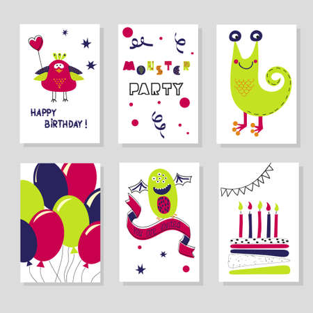 birthday party kids: Set of Birthday cards templates. Cute cartoon monsters. Kids design. Vector illustration.Collection of cards for birthday or party invitations.