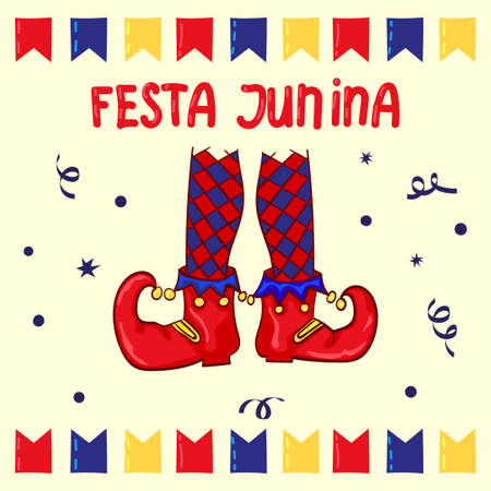 clown shoes: Festa Junina - June Festival, National Brazilian holiday. Red clown shoes and flags, Celebration background.