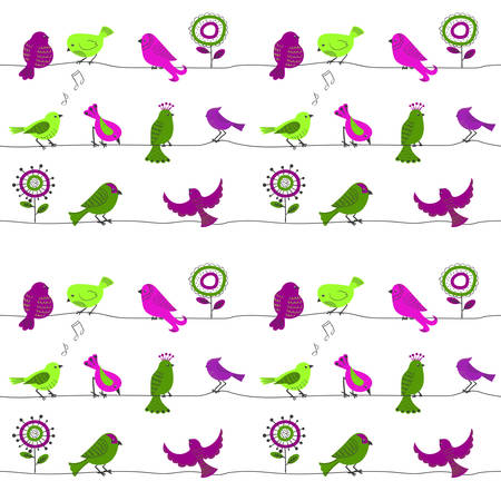birds on a wire: Birds on a wire. Seamless pattern with cute cartoon birds in green and purple colors. Vector background.