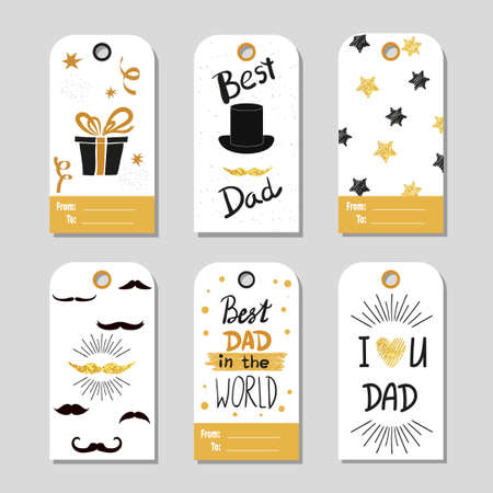 best dad: Fathers day set in gold and black. Collection of gift tags. Fathers day vector backgrounds. Best dad lettering. Sparkling cards, fathers day design.