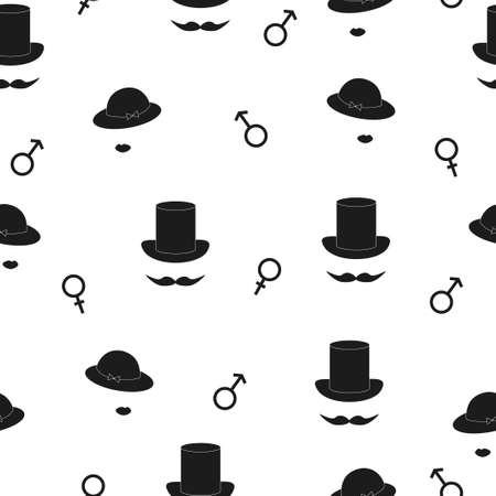 gender symbols: Symbolic man and woman seamless pattern. Black and white vector background with male and female gender symbols. Illustration