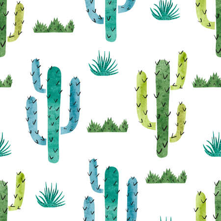 Watercolor cactus seamless pattern. Vector background with green and blue cactus isolated on white. Vectores
