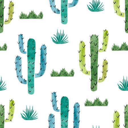 Aquarell Kaktus nahtlose Muster. Vector Hintergrund mit grünen und blauen Kaktus isoliert auf weiß. Standard-Bild - 60395884