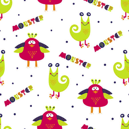 party cartoon: Cute monsters seamless pattern. Colorful vector background with cartoon monster characters. Suitable for kids textile, wallpaper, background, monster party invitation.