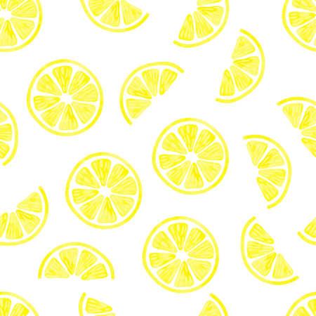 Limón acuarela patrón transparente. Vector de fondo con rodajas de limón aislados en blanco. Papel pintado de la fruta cítrica.