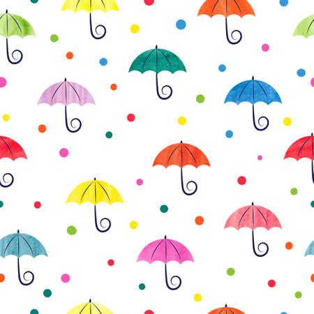 수채화 우산 원활한 패턴입니다. 다채로운 벡터 일러스트 레이 션, 벽지, 웹 페이지 배경, 아이 섬유에 적합합니다. 일러스트