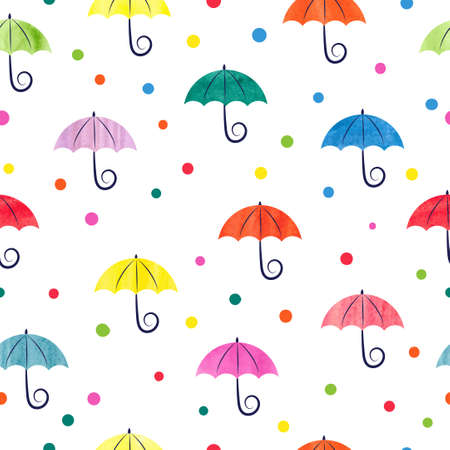 painting style: Watercolor umbrellas seamless pattern. Colorful vector illustration, suitable for wallpaper, web page background, kids textile.