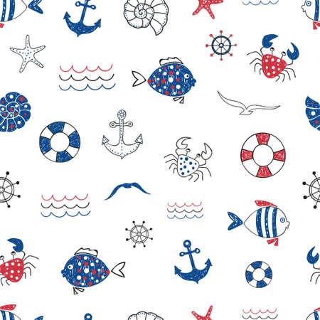 Nette marine Leben doodle nahtlose Muster. Vector Hintergrund Meer mit Fischen, Krabben, starfifh, Anker, Möwe. Geeignet für Tapeten, Geschenkpapier, Web-Seite Hintergrund, Sommer-Karten-Design. Standard-Bild - 60529102