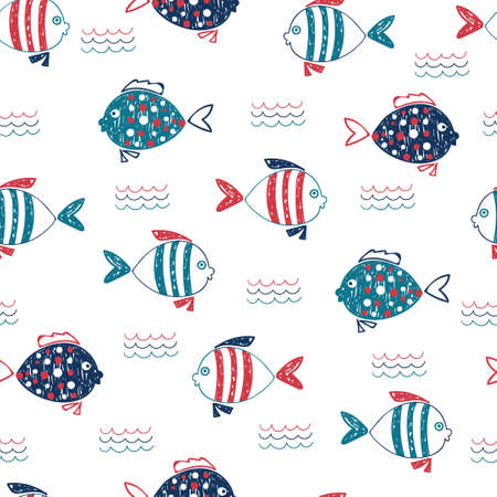 Cute doodle fish seamless pattern. Vector marine background in blue, red and white colors. Hand drawn fish and waves isolated on white. Stock Illustratie
