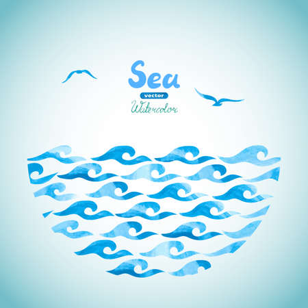 horizont: Watercolor sea vector background. Abstract blue waves and seagulls. Marine theme illustration. Illustration