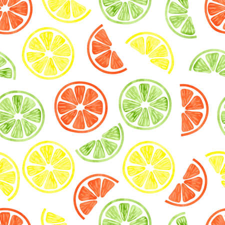 水彩の柑橘類のシームレスなパターン。ベクトルの背景白で隔離レモン、オレンジとライムのスライスを。壁紙、web ページのデザイン、テキスタイ