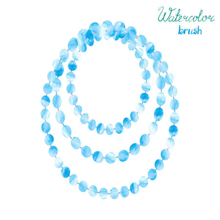 beads: Watercolor beads isolatedn on white. Vector illustration of blue necklace.