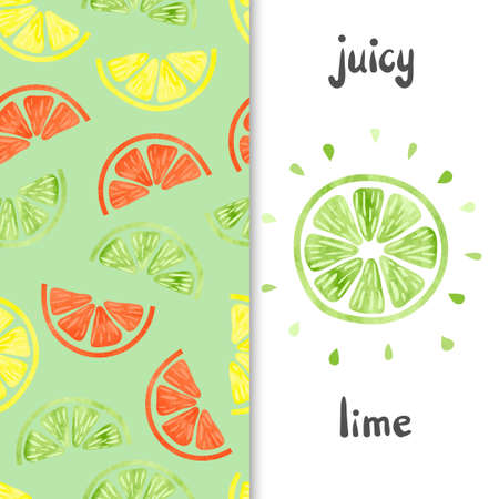 lime: Watercolor citrus set. Lime slice isolated on white and citrus seamless pattern. Colorful vector illustration.