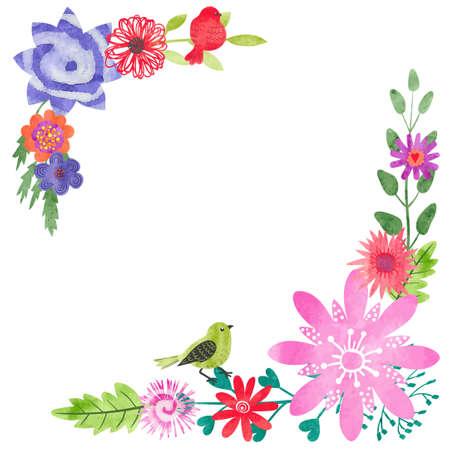 Watercolor floral hoek samenstelling. Wenskaart design met bloemen en vogels. Vector illustratie. Stock Illustratie