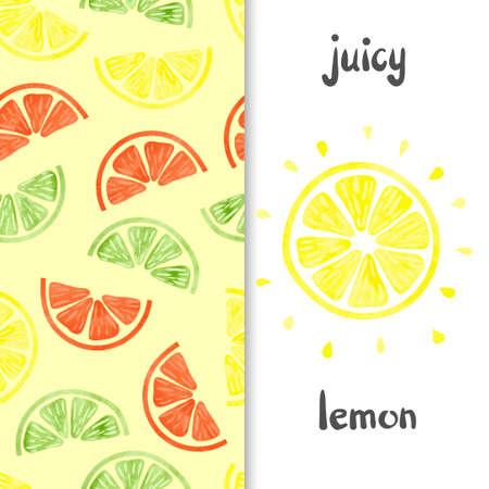 lemon slice: Watercolor lemon set. Citrus seamless pattern and lemon slice isolated on white. Vector illustration.