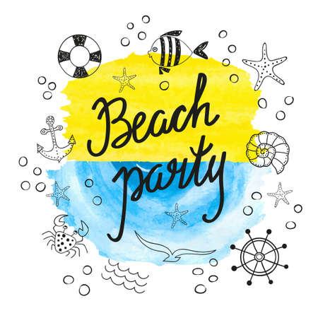 beach party: Beach party poster design. Vector illustration of doodle marine icons.