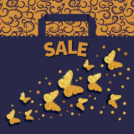 Luxury sale background with golden glittering butterflies. Discount vector illustration with paper shopping bag. Can be used as sale poster, banner or flyer design.