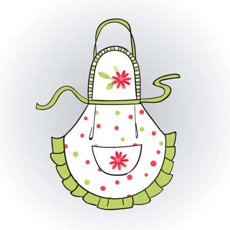 Doodle kitchen apron for woman. Vector illustration.