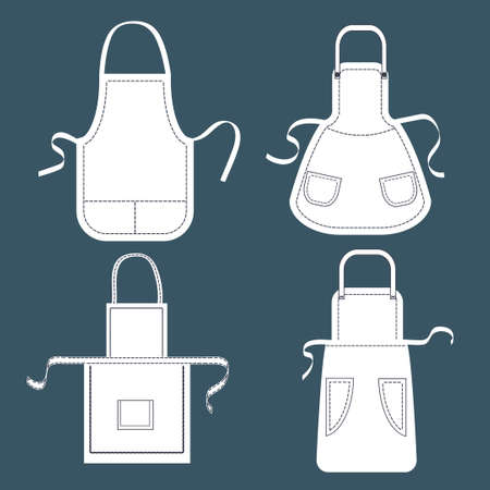pockets: Set of white aprons. Vector collection of aprons templates with pockets, shoulder straps and belts.