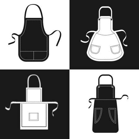 pockets: Aprons set. Vector collection of black and white aprons with pockets, shoulder straps and belts.