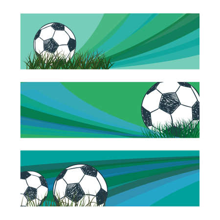 blue ball: Set of soccer banners with sketch ball. Vector football backgrounds in blue and green colors. Illustration