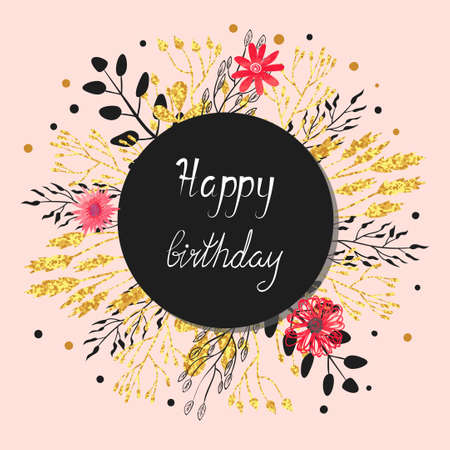 Happy Birthday Card Design Floral Circle Background Vector