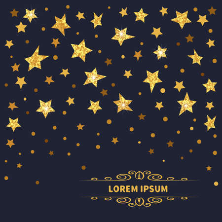 Stars background. Vector illustration of abstract golden sparkling stars on dark.