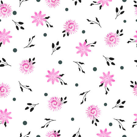 violet flowers: Floral lilac seamless pattern. Vector background with simple watercolor violet flowers and black leaves on white. Illustration