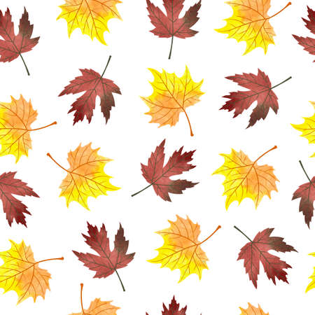 crimson: Watercolor maple leaves seamless pattern. Vector background with autumn orange and crimson leaves isolated on white. Illustration