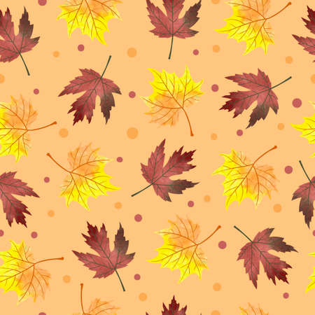 crimson: Watercolor maple leaves seamless pattern. Vector background with autumn orange and crimson leaves.