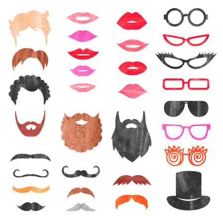 props: Watercolor props set. Vector collection of mustache, beards, haircuts, lips and sunglasses. Birthday party photo booth props.
