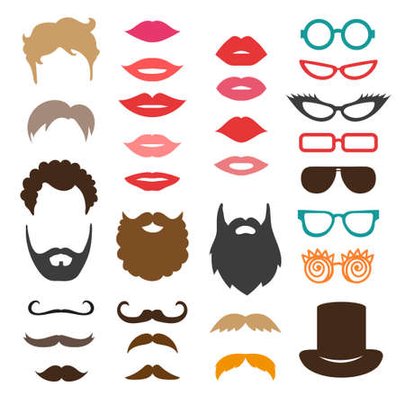 Set of mustache, beards, haircuts, lips and sunglasses. Birthday party photo booth props. Vector collection of icons