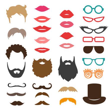 Set von Schnurrbart, Bärte, Frisuren, Lippen und Sonnenbrillen. Geburtstagsfeierfotokabine Requisiten. Vector Sammlung von Icons Vektorgrafik
