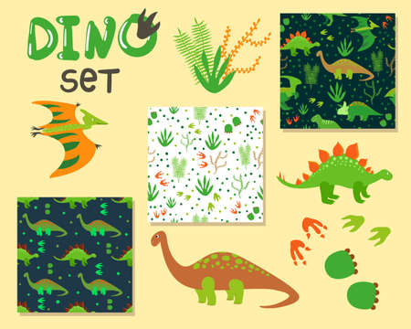 beige background: Cute cartoon dinosaurs set. Collection of characters and seanless patterns. Vector illustration Illustration