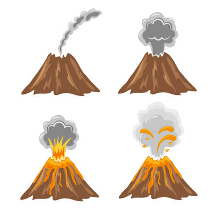 Different stages of volcano. Vector set of volcano eruption icons isolated on white.