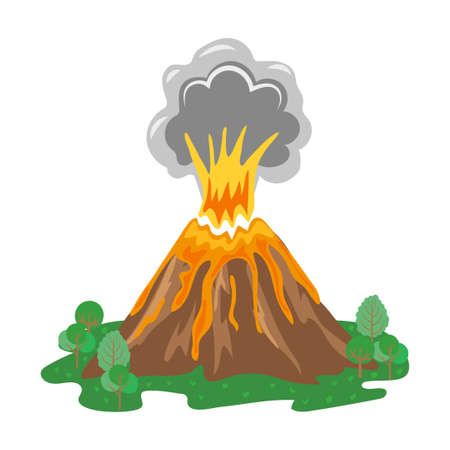 volcano lava: Volcano eruption with smoke and erupting lava. Vector illustration. Illustration
