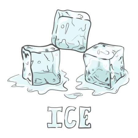 separately: Set of sketch ice cubes. All elements separately. Vector illustration.