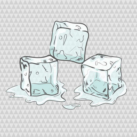 separately: Set of sketchy transparent ice cubes. All elements separately. Vector illustration. Illustration