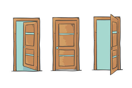 Set of cartoon doors, closed and open, isolated on white. Vector illustration.