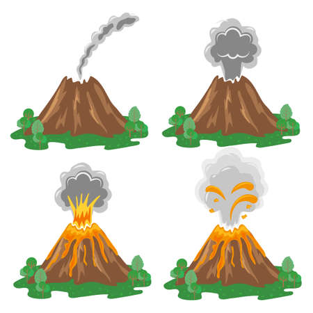 Vector set of volcano eruption illustrations isolated on white. Different stages of volcano activity.