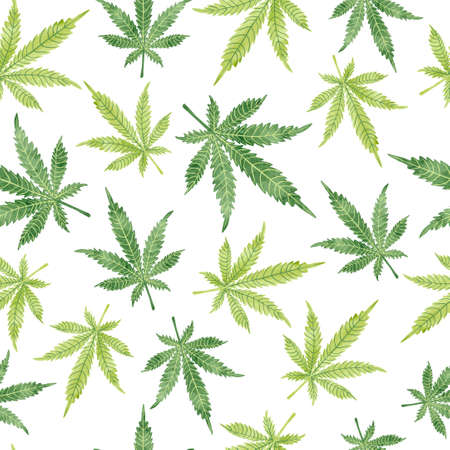 Watercolor marijuana leaves seamless pattern. Vector cannabis background. 일러스트