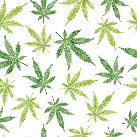 Watercolor marijuana leaves seamless pattern. Vector cannabis background. 일러스트